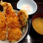 天丼てんや - ふもと赤鶏天丼(半熟玉子付)!(2015,11/07)