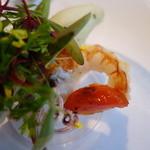 44360570 - 北海道産鱈のサルタート 様々な魚介類とジェノベーゼのスパゲティ