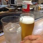 ひかりお好み焼 - H.27.5.30.夜 黒霧島ロックvs生ビールで乾杯♪