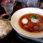 りょう花 - トマト拉麺+味玉+白ごはん大