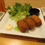 フクモリ - だだ茶豆コロッケと食事セット(ご飯、味噌汁、色々小鉢、香の物)&アイス・ジャスミンティー2