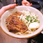 首里乃家 - 沖縄すば。ソーキそばは骨付きで、沖縄そばはらふてーが乗ってます。とろっとろです。