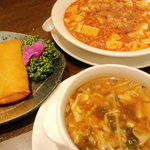 Hanaki - 春巻き、四川麻婆、酸辣湯