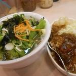 44424593 - 野菜そば ミニカレーセット 550円 プラス50円で玄米に変更。
