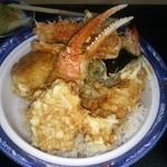 いもや - 海鮮天丼 ホタテ,エビ,カニツメ,カボチャ,ノリ,ニンジン,シュンギク