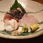 高太郎 - 鰆(大分)、真鯛(国東)、根蛸(金華山) のお造り