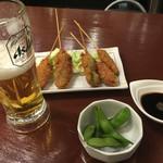 船出 - 串カツ+枝豆 ドリンクセット ¥600