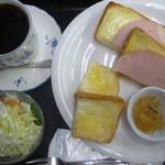 茶房 萌木 - トーストセットのブレンドコーヒー、サラダ、トースト