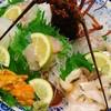 民宿みはらし - 料理写真:超豪華な刺身盛り合わせ(伊勢海老・アワビ・地ウニ・鯛・あおりイカ)