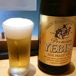 手打蕎麦まろ - 瓶ビール 550円(キリン、アサヒ、ヱビスが全て同額)