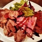 44453377 - 『肉盛』!!『牛ランプステーキ』『厚切りのイベリコ豚のロース』『鴨ロース』『牛タン』の4種類盛り合わせで、350g超~~!!(・。・;