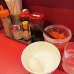 長浜御殿 - 今回はカウンター席に案内されました。 こちらは、イニシエ系の店ですから黄身がとろける半熟煮玉子とかはありません。 そのかわり、ゆで玉子があります。