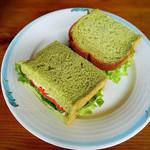44458609 - サーモンとモッツァレラチーズのサンドイッチ