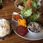 44471304 - お惣菜とデザートセット 900円                       …の惣菜と玄米御飯