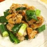 かき処 七商店 - 鶏モモ肉の炒めもの