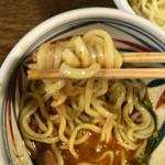 麺鮮醤油房 周月 - 辛味噌つけ汁。ピリ辛です。