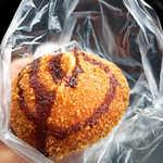 ポミエ - 料理写真:四万十鶏コロッケパン(¥162)。ウスターソースの香りが、食欲をそそります♪