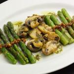 Barta - アスパラとマッシュルームの鉄板焼き