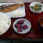 ひもの食堂 - 昆布サバの干物定食 ¥950-