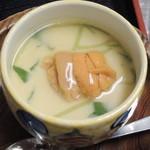 仙台藩 - 比内地鶏の卵の茶碗蒸し、生うに乗せ