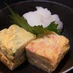 大森 茶々 - 釜揚げしらす(左)と桜海老のだし巻きたまご(小:250円)