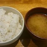 44566492 - 麦めしと味噌汁(おかわりOK)