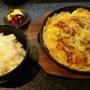 お好焼き 鉄板焼 と - 料理写真:白ご飯と豚のお好み焼き