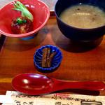 豆腐かふぇ 浦島 - お粥さん、豆腐仕様の和風ハンバーグ、ごぼうを炊いたん