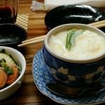 飲み食い処ゆるりや - 牡蠣の茶碗蒸しとあん肝