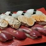 飲み食い処ゆるりや - 真イカ、あん肝、鰹の握り