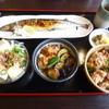 Zameshiya - 料理写真:秋刀魚塩焼き、若鳥とさつま芋甘煮、和風豆腐サラダ、たこめしミニ('15.10)