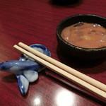 藍の家亭 - 鰻の箸置きとお通しの塩辛