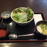 くわっちー家 - タコライス丼定食+ミニそば ¥900