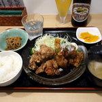 川崎鶏唐揚定食店 - 唐揚げ定食ミックス(唐揚げ大盛) 750円 ご飯お代わり無料