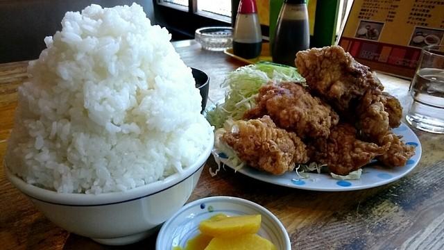 亜珈里 - ザンギ定食750円 ライス大盛り150円