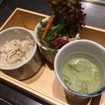 44634982 - セットのご飯とサラダ、スープ