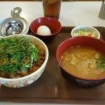 すき家 有松桶狭間店 - ねぎ玉牛丼(並)+とん汁おしんこセット