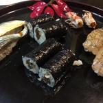陸女鮨 - 料理写真:車海老、小肌、干瓢巻