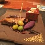 44649621 - 鰆の焼き物、柿の白和え、揚げ銀杏と焼き芋