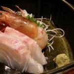 鳥元 - 鳥元ちゃんこ鍋コース 刺身2種盛り 2015.11