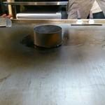 44665808 - 混ぜ焼き系のお好み焼きは、この筒の中に生地を入れて焼きます。