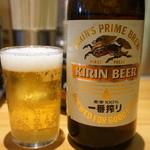 らあめん花月嵐 - 2015.11 ビールは生と瓶(中瓶)同じ料金。ビールのボタンを押して店員さんにどちらかを告げます。