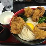 極楽うどん TKU - 鶏玉ぶっかけ 中盛り d(^_^o) いやはやお腹いっぱい(笑)