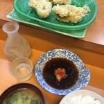 天ぷら だるま - かき天ぷら定食800円+にわのうぐいす550円