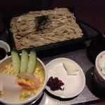 かご花緑井 - 二色海鮮丼と十割そば(大盛り)のセット