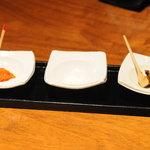 茅乃舎 - 薬味3種(生七味、海塩、赤柚子胡椒)