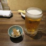 大分の鳥料理とお酒 如水 - 生ビールとお通し_2015/11(2)