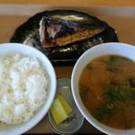 おおばやし食堂 - サバの塩焼き、豚汁、めし小
