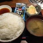44739736 - 大盛りご飯に味噌汁・サラダ・韓国海苔・タレ