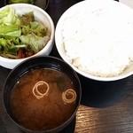 西洋食房 芝 - ランチのライス中、味噌汁、サラダ